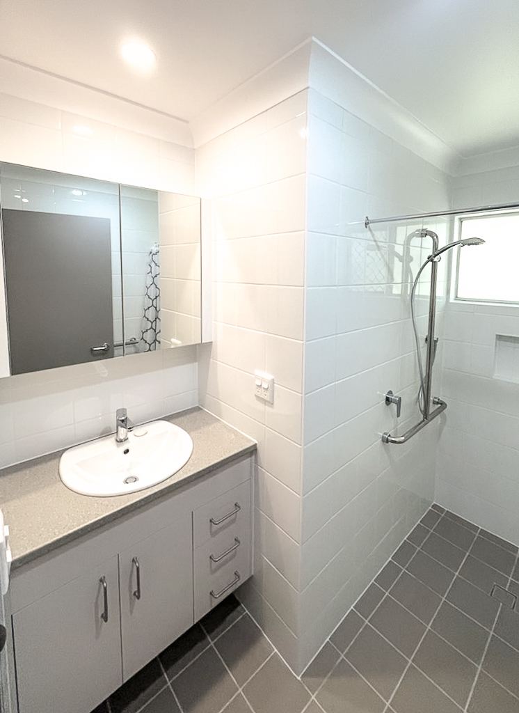 Trinder Park Bathroom Renovation Construction Building Zero Transition Flooring Grab Rails Queensland