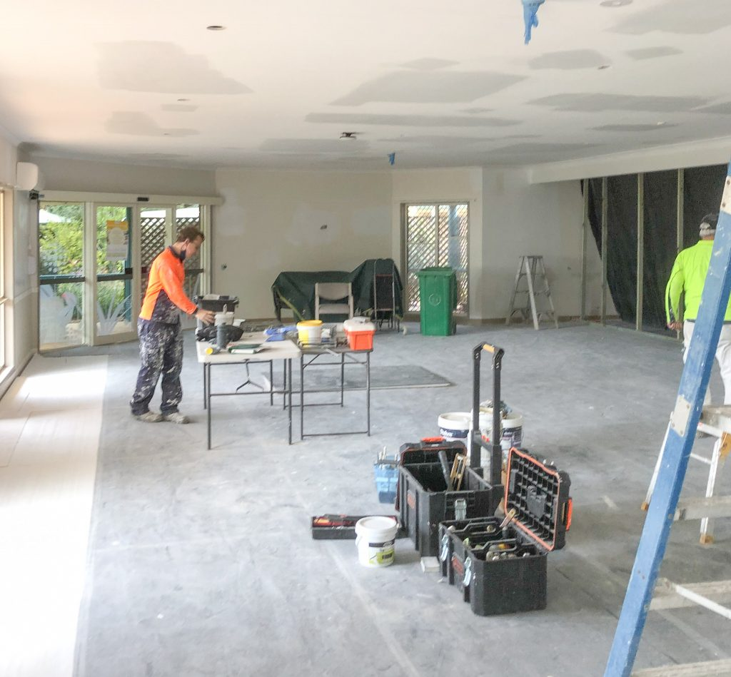 Tradespeople-LED-Lighting-Painting-Fan-Installation-Aged-Care-Site-Construction
